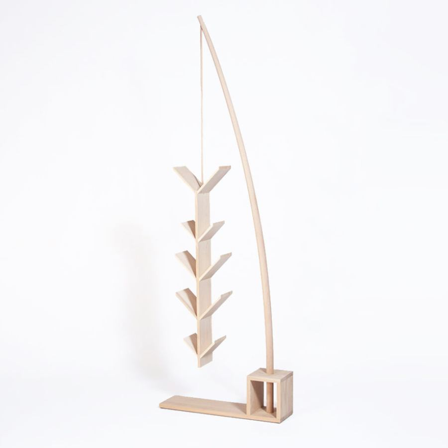 Solid Wood Bookcase shaped like a fishing rod (height 215 cm)