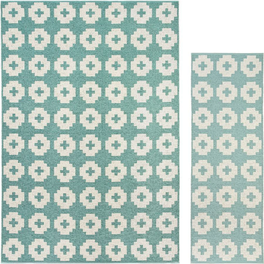 """Swedish Outdoor Rug """"Flower"""" (blue) in various sizes"""