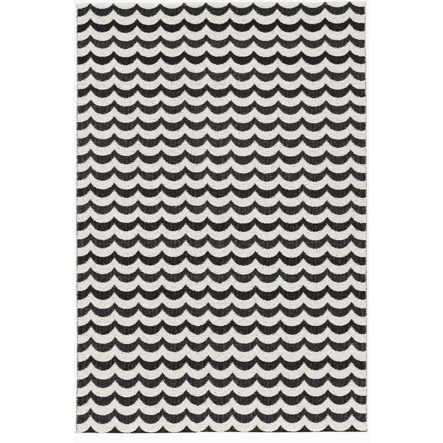 """Traditionally Woven Outdoor Rug or Runner """"Ocean"""" (black wave pattern)"""