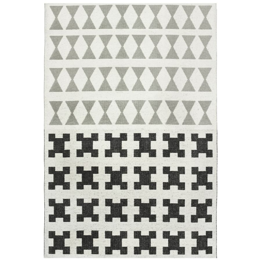 "Traditional Swedish Outdoor Rug ""Paris"" (Black/Grey)"