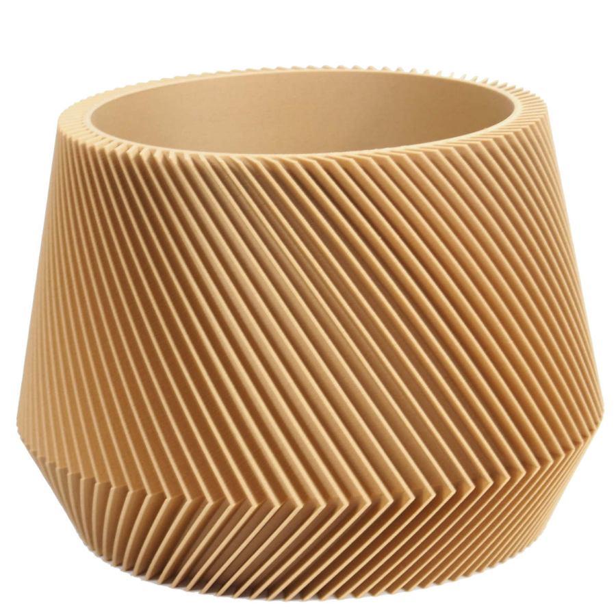 Sustainable design planter with asymmetrical lamella structure Ø 21 cm