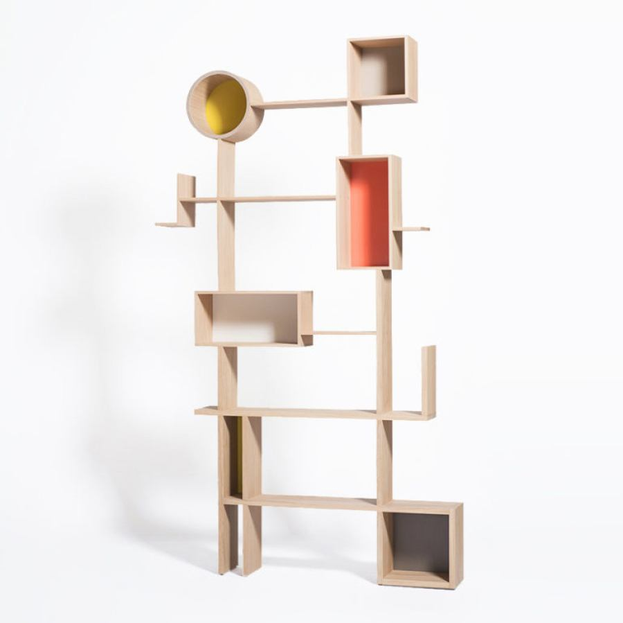 Abstract Bookcase made of solid oak wood (height 210 cm)