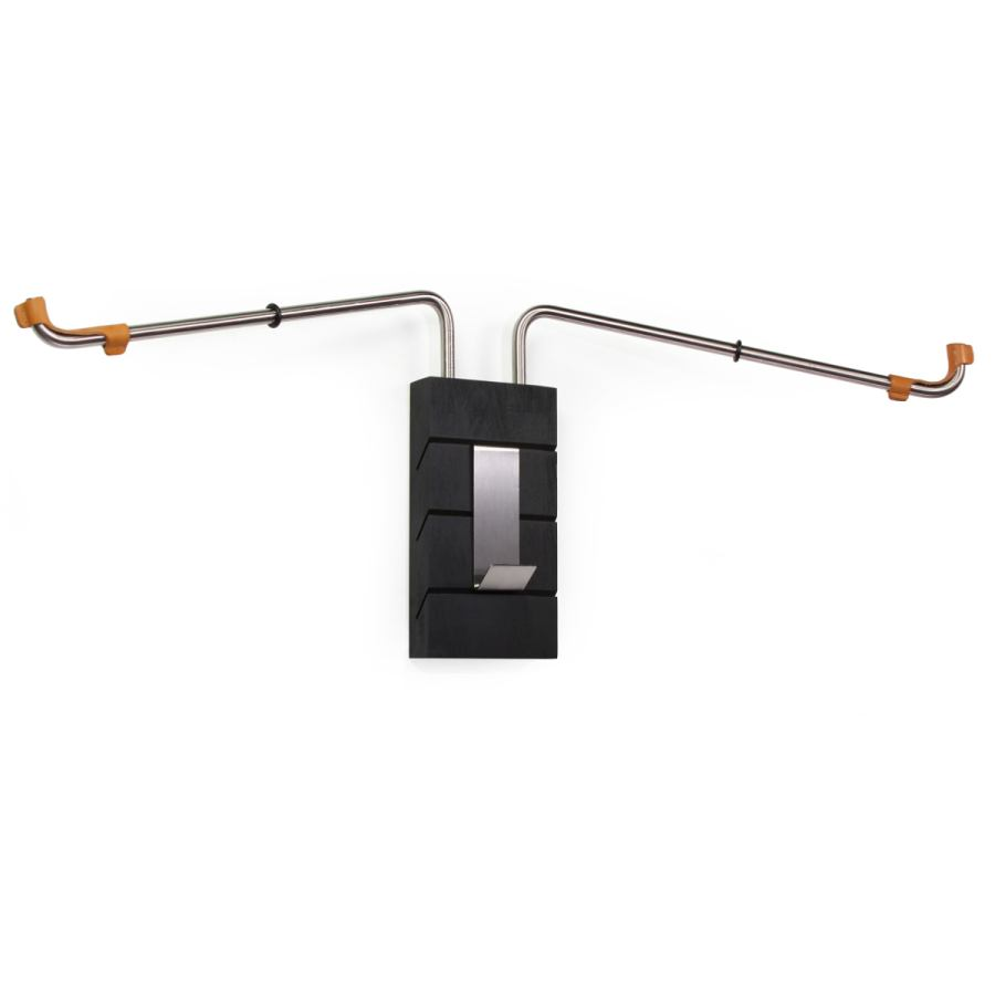 Black bicycle wall holder made of beech wood, stainless steel and leather
