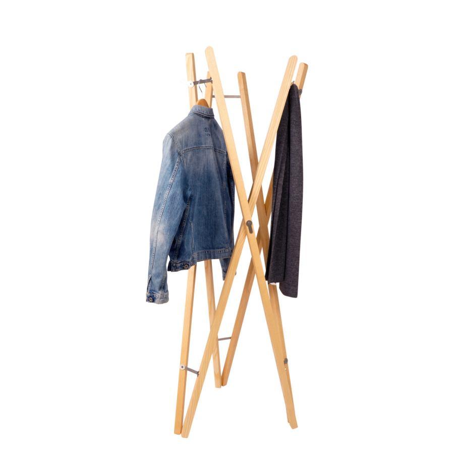 Faltbarer Design-Kleiderständer / Garderobe aus Massivholz