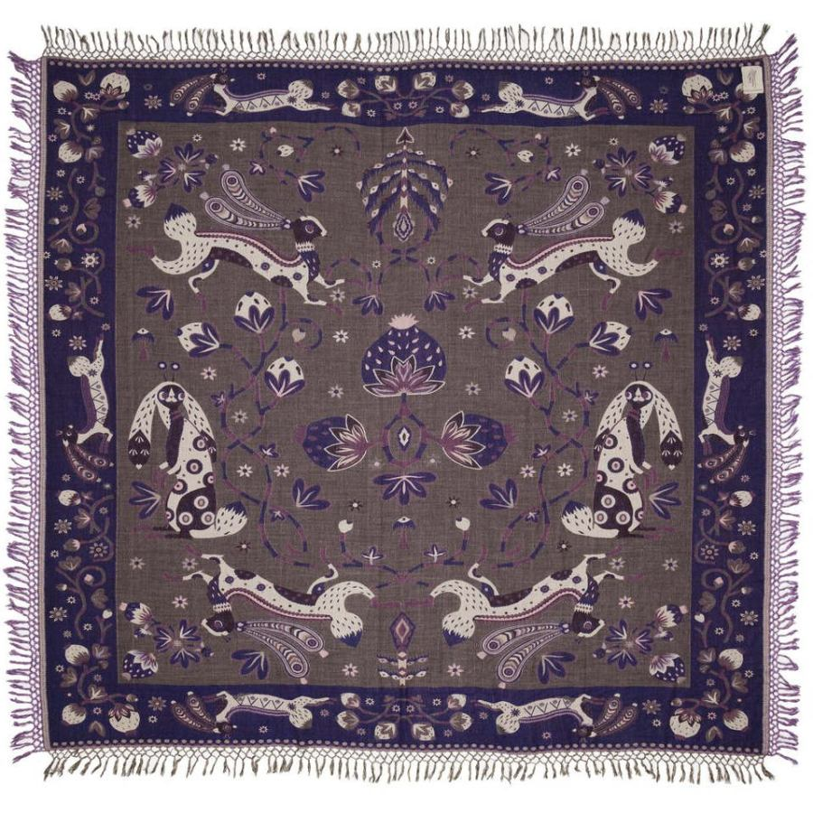 Beautiful Bedspread with Rabbit Design (Blue) made of Wool & Silk (245 x 220 cm)