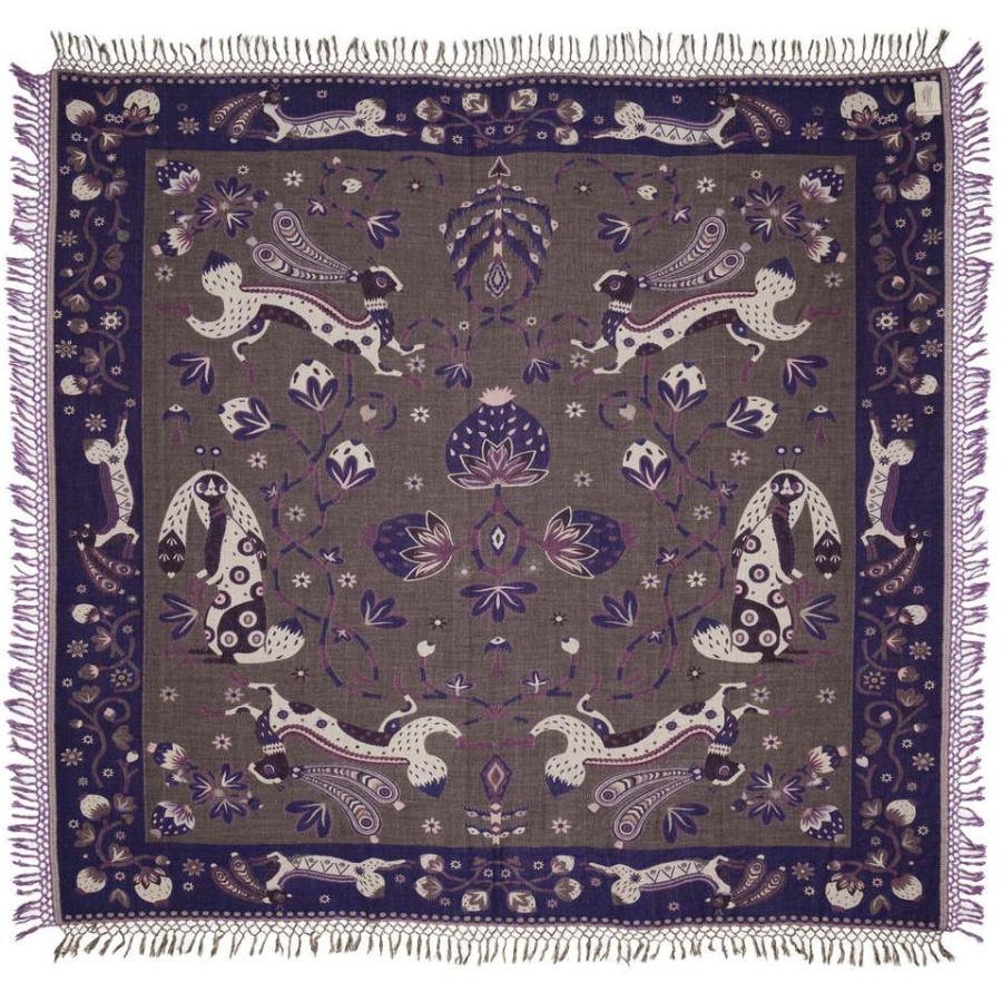 Beautiful Bedspread with Rabbit Design (Blue) made of Wool & Silk (245 x 220 cm)