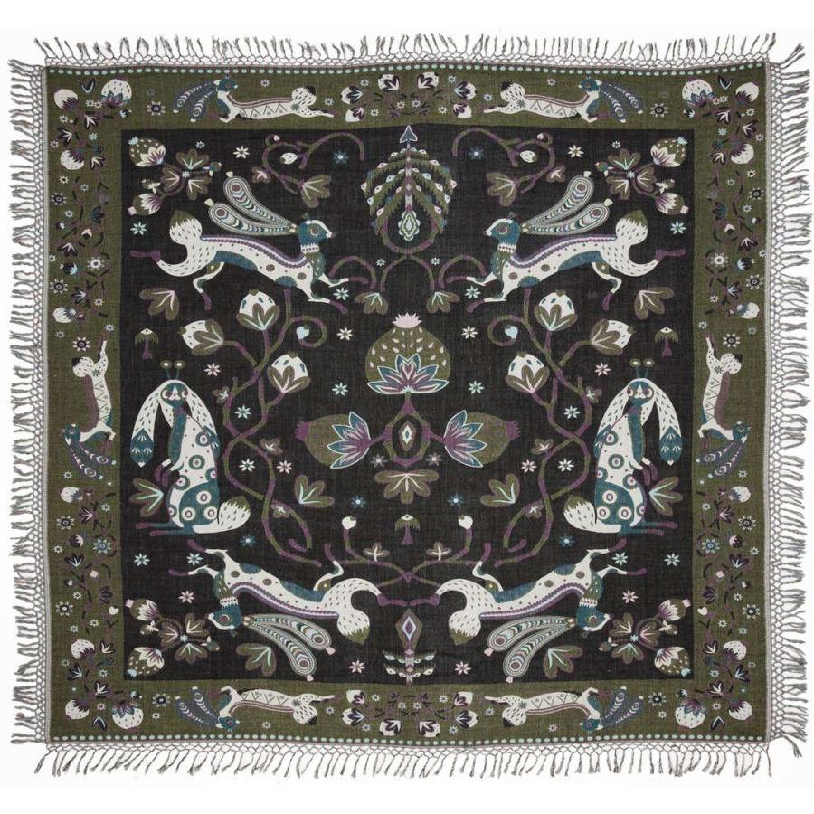 Beautiful Bedspread with Rabbit Design (Green) made of Wool & Silk (245 x 220 cm) - Kopie
