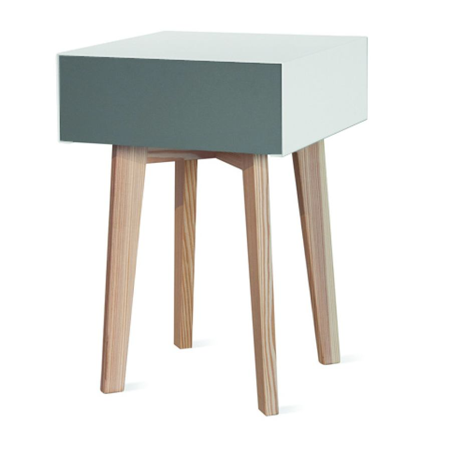 Square Design Stool / Side Table with Drawer (35 x 35 cm)