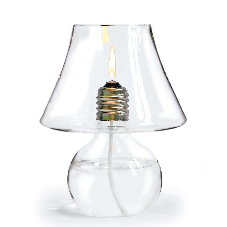 Windgeschützte Glas-Öllampe in Form einer Tischleuchte