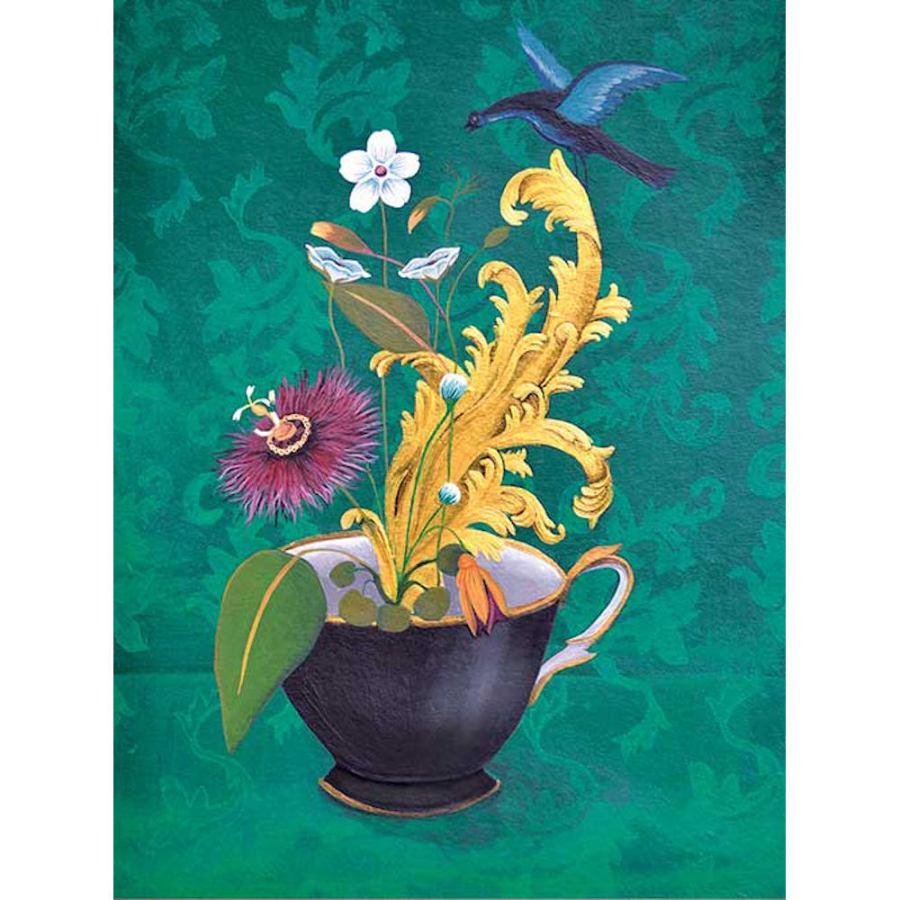 Kunstdruck auf Vliespapier mit Blumen-Stilleben (60 x 80 cm)