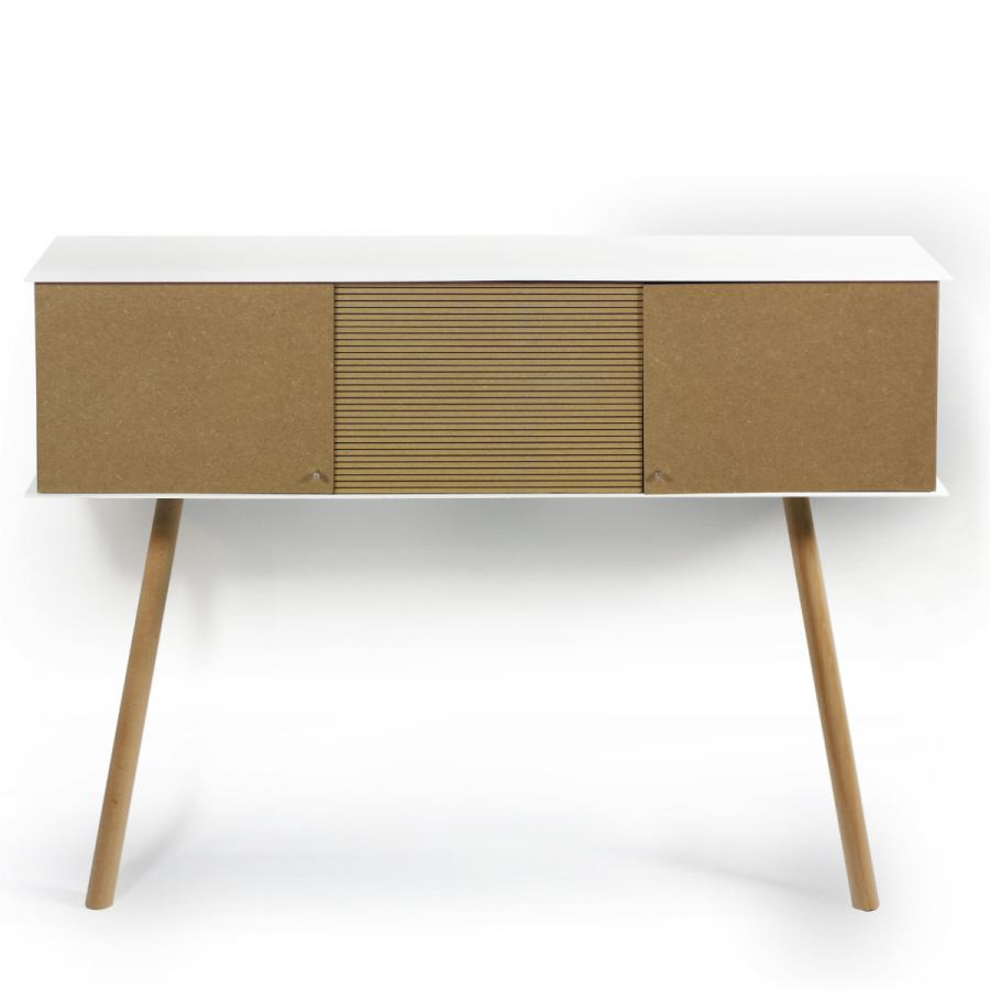 Retro-modern Leaning Sideboard made of Stainless Steel and MDF (100 x 25 cm)