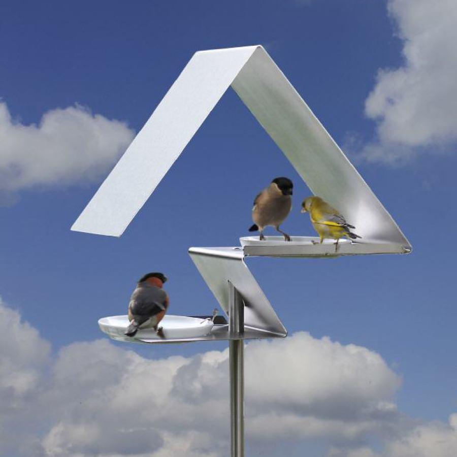 Zweistöckige Vogeltränke aus Stahl / Edelstahl mit Porzellanschalen