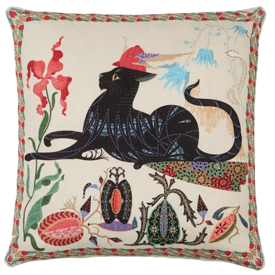 "Cushion Sleeve ""Putte"" with Cat Print on Linen & Cotton (50 x 50 cm)"