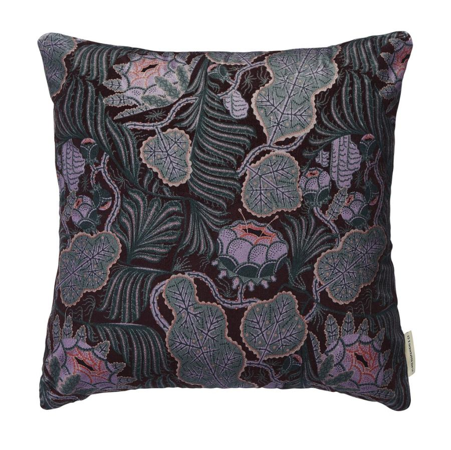 "Sofa Cushion ""Iceflower"" (Brown) made of Fine Velvet (50 x 50 cm)"