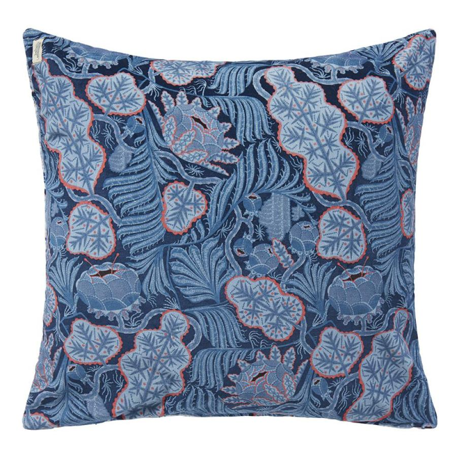 "Sofa Cushion ""Iceflower"" (Blue) made of Fine Velvet (50 x 50 cm)"
