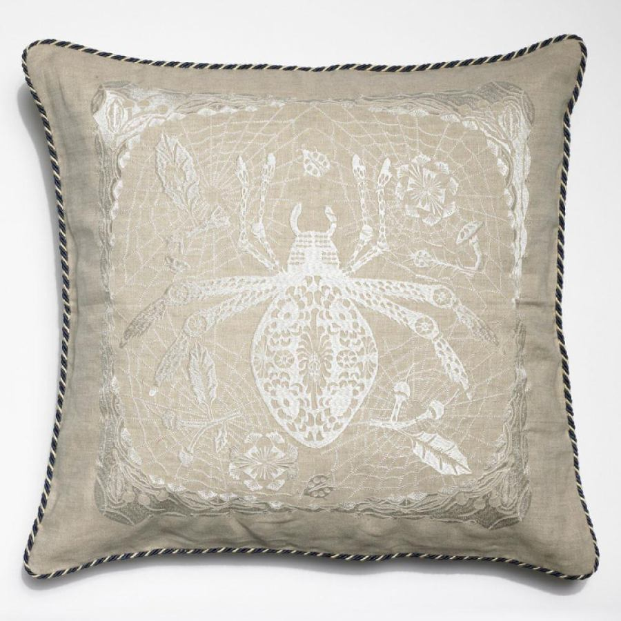 "Embroidered Linen Cushion ""Spider and Ladybug"" (50 x 50 cm)"