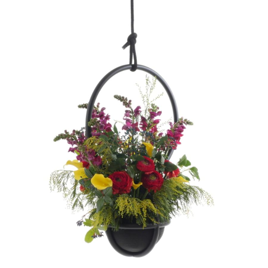 Special edition flower suspension with handmade rubber vase/pot