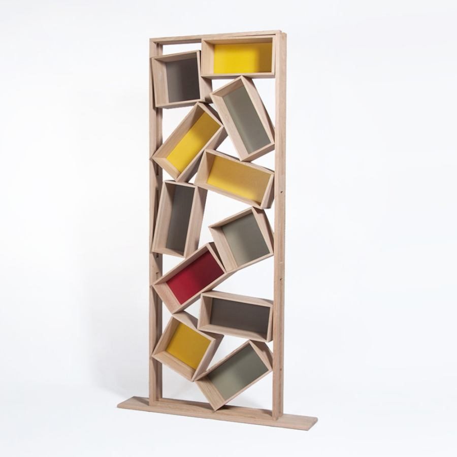 "Chaotic Bookcase ""Bric a Brac"" made of solid wood (height 226 cm)"