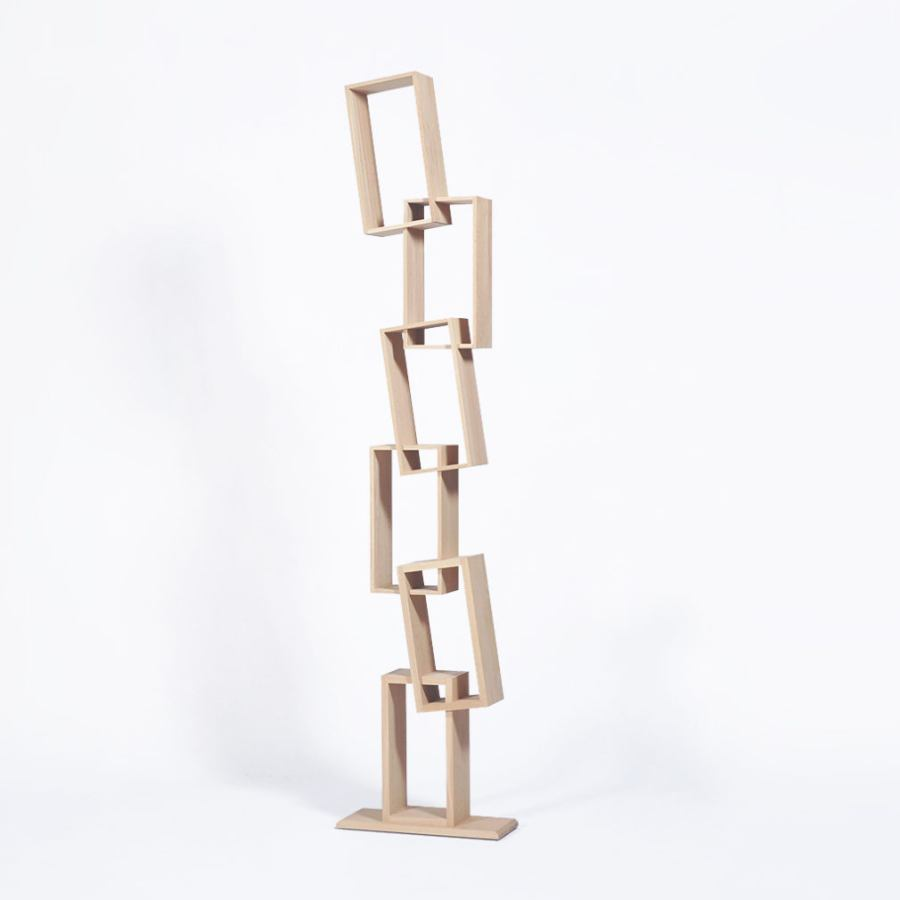 Quirky Bookcase with six tilted compartments (height 225 cm)