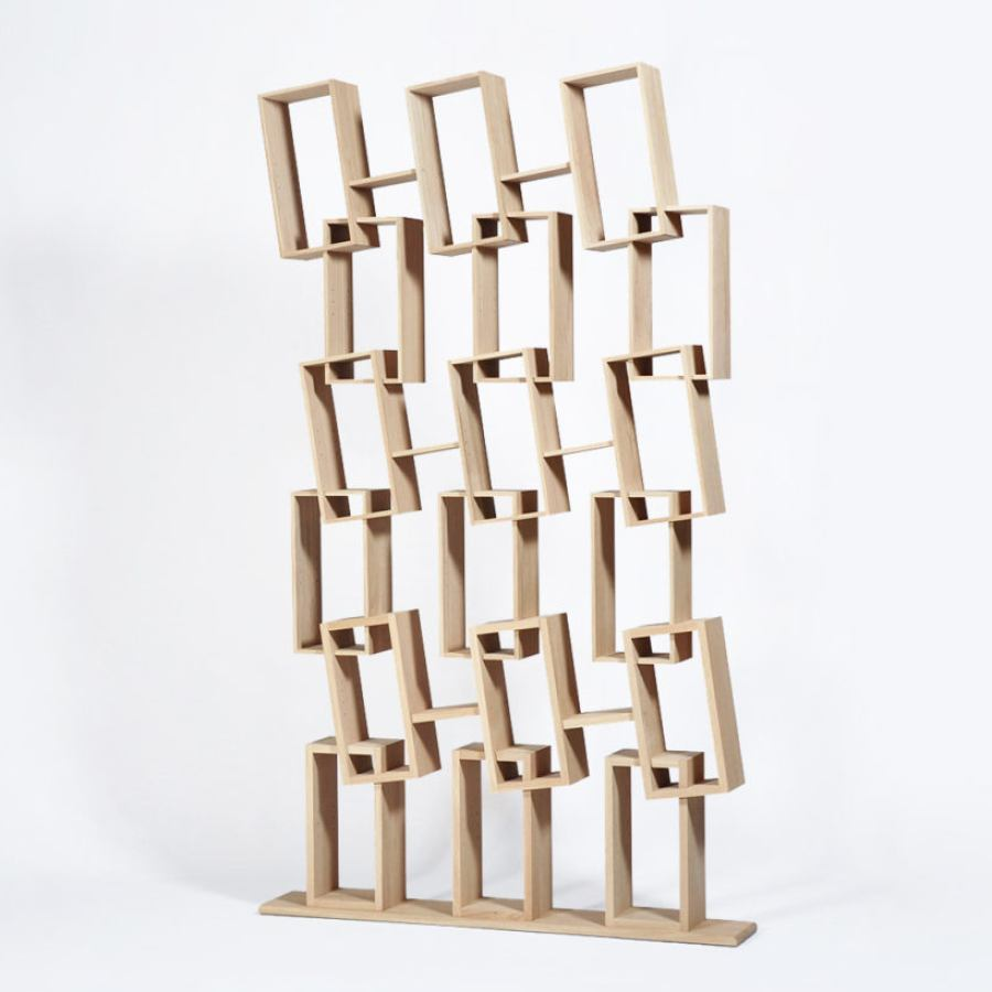 Quirky Bookcase with eighteen tilted compartments (height 225 cm)