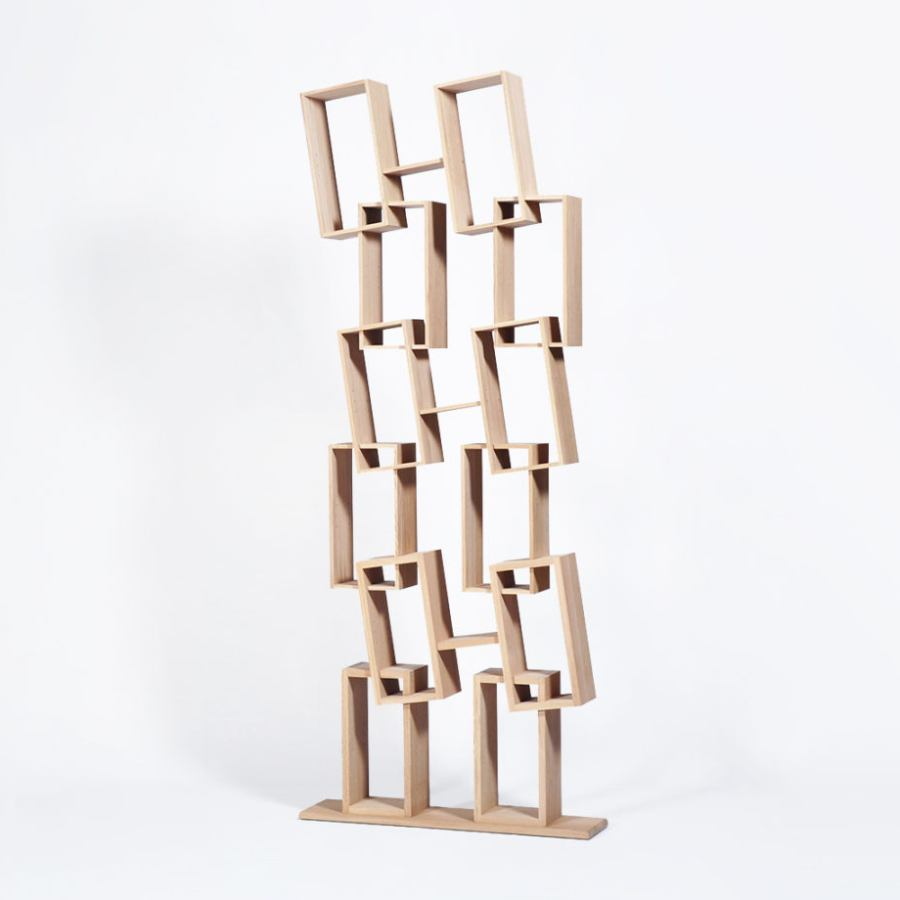 Quirky Bookcase with twelve tilted compartments (height 225 cm)