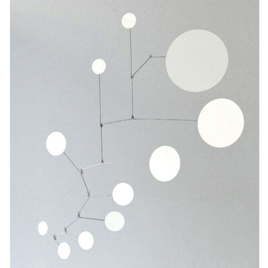 "Mobile ""Dots"" made of white laquered brass (70 x 70 cm)"