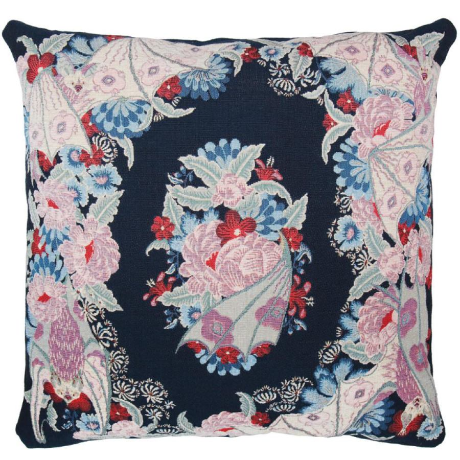 "Tapestry woven cushion sleeve ""Flowers"" (Blue) 60x60"