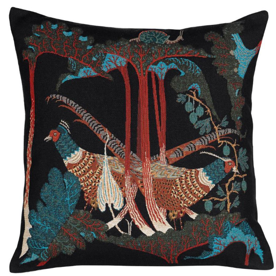 "Velvet Cushion Sleeve ""Pheasants & Rhubarbs"" with Embroidery (50 x 50 cm)"