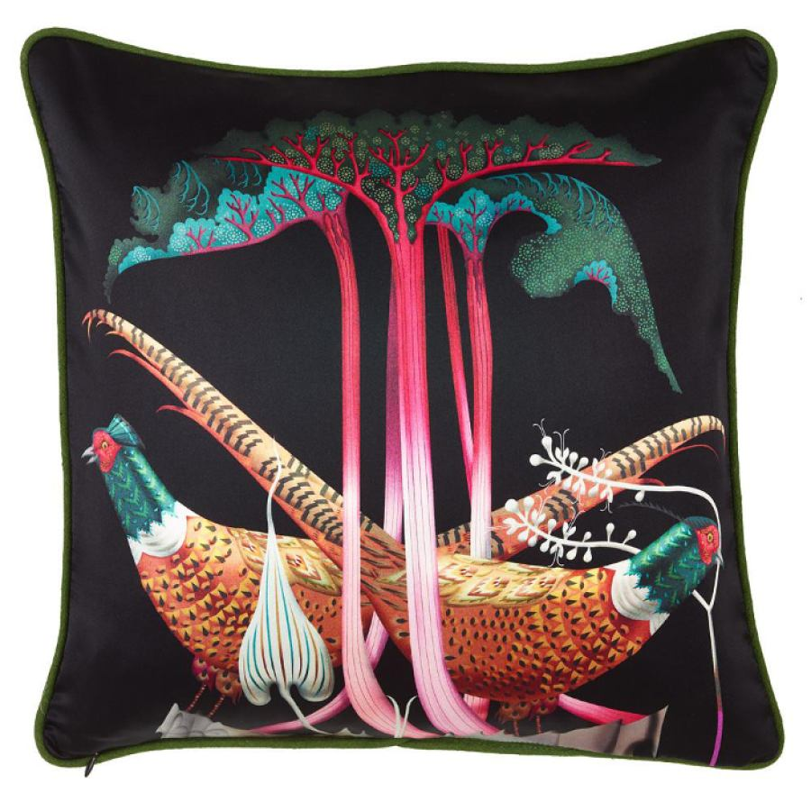 "Silk Print Cushion Sleeve ""Pheasants & Rhubarbs"" (50 x 50 cm)"