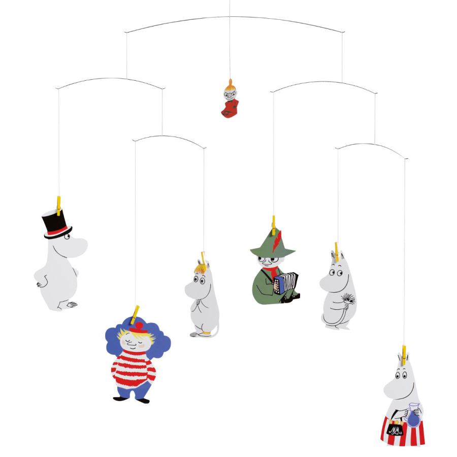 Scandinavian Children's Mobile with Moomins Characters by Tove Jansson