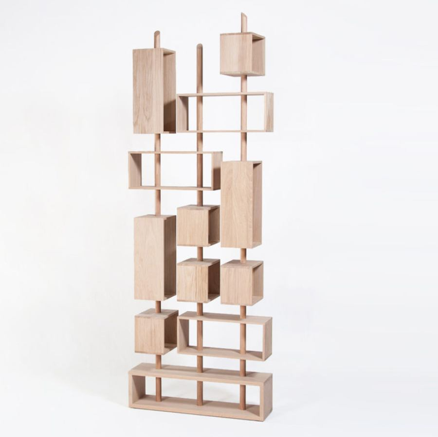 Flexible Bookcase made of solid oak (height 232 cm)