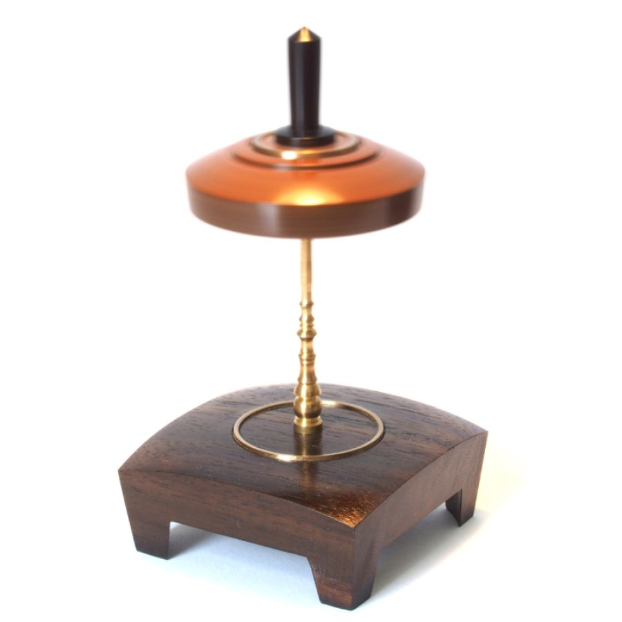 "Exclusive Spinning Top ""Stick Top"" made of Wood and Brass"