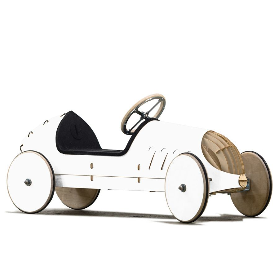 Wooden Ride-On Car for Kids, White Version
