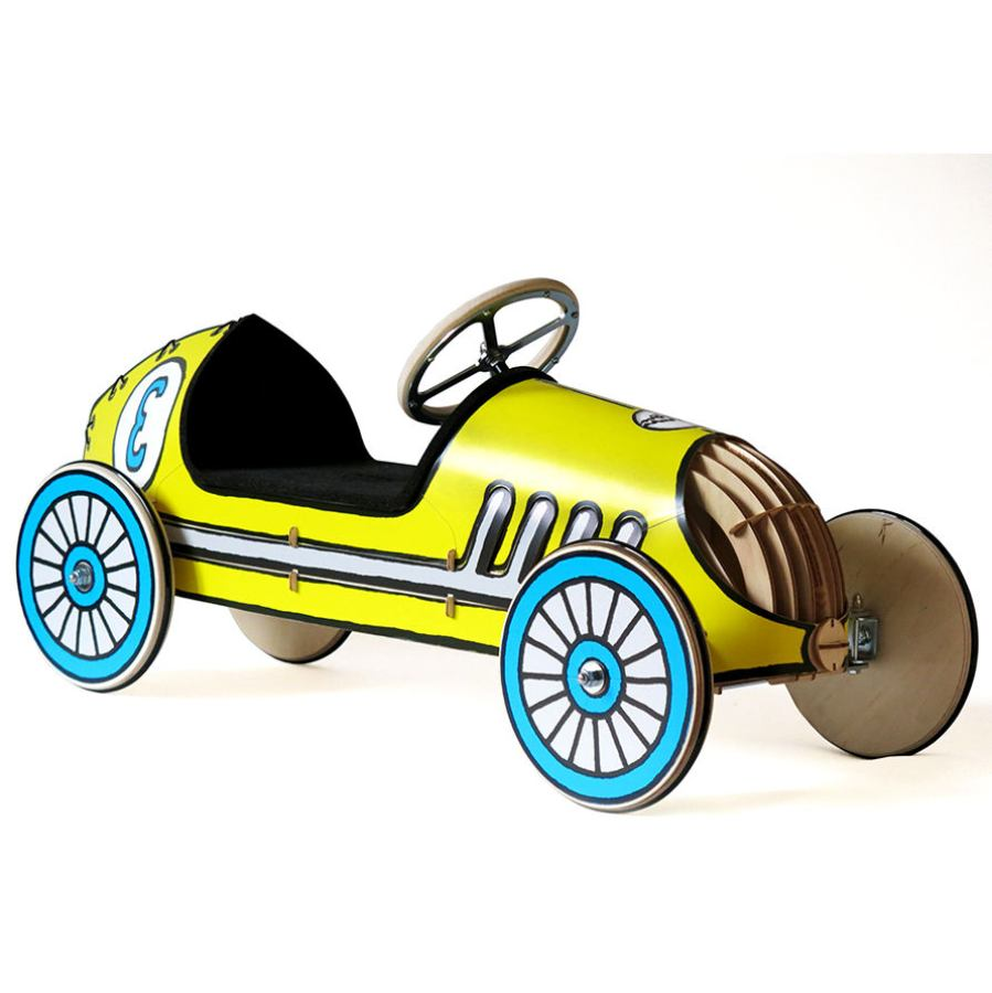 "Wooden Ride-On Car for Kids, model ""Rushing Rudy"" (Yellow)"