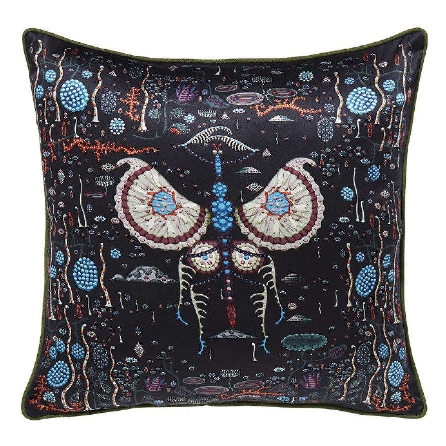 Cushion Sleeve 'Black Lake' with Print on Silk (50 x 50 cm)