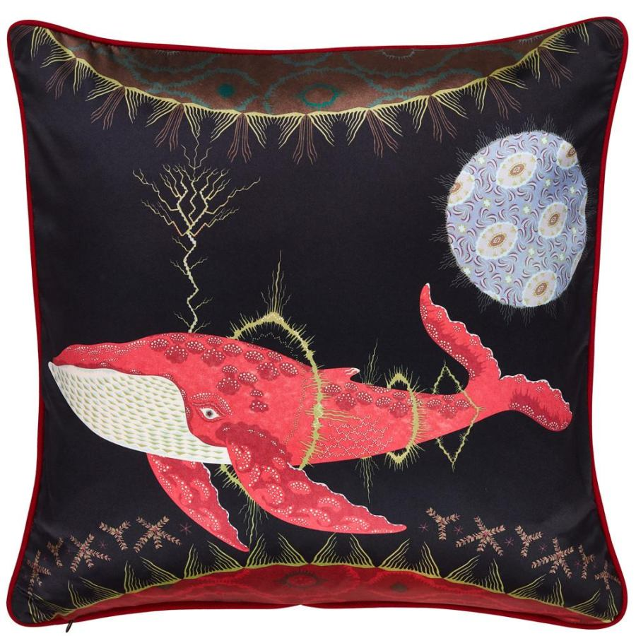 Linen cushion 'Cosmic Whale' with pure silk print 60x60