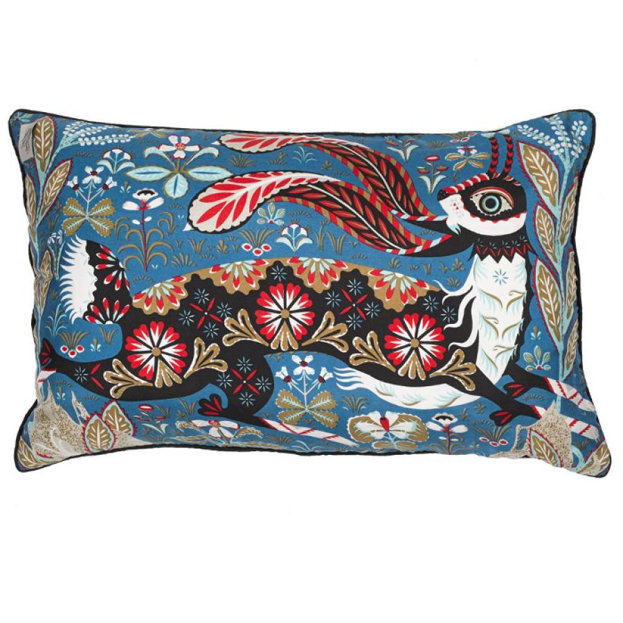 Silk print cushion sleeve 'Running Hare' 50x35