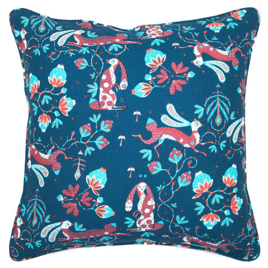 Cushion 'Snow Rabbit Blue' (40x40, 50x50, Ø50)
