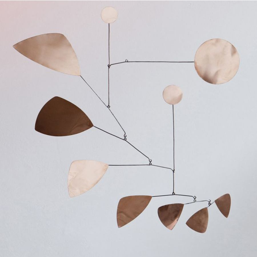 "Handcrafted Mobile ""Leaves"" made of copper (70 x 70 cm)"
