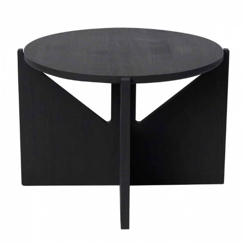 Bauhaus-inspired Black Solid Oakwood Side Table (Ø 52 cm)