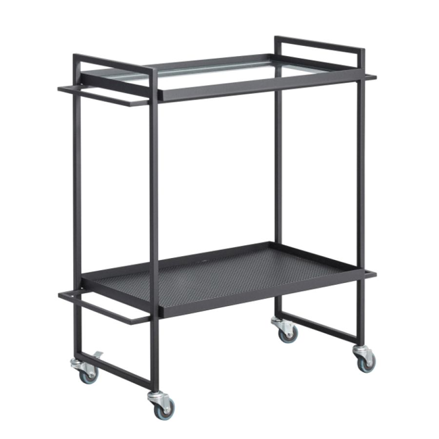 Bauhaus-inspired Table Trolley made of steel (black)