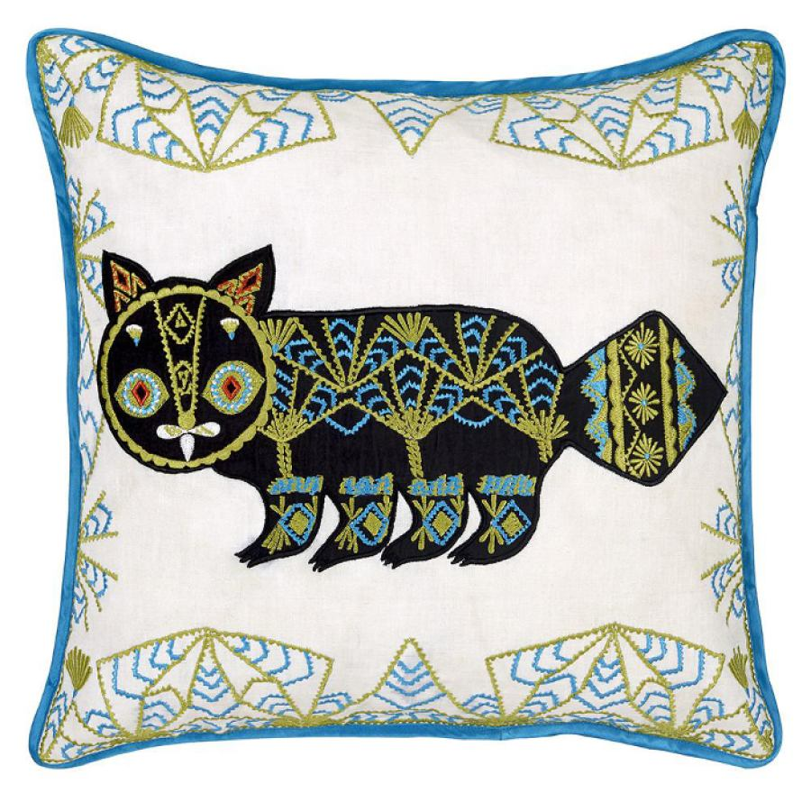 Hand embroidered cushion sleeve 'Putte' (Black) 50x50