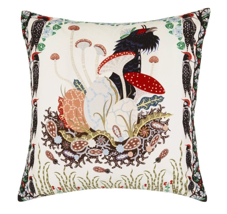 "Cotton velvet cushion sleeve ""Woodpecker""  