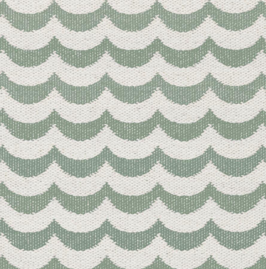 "Traditionally Woven Plastic Rug ""Ocean"" (Green Wave Pattern)