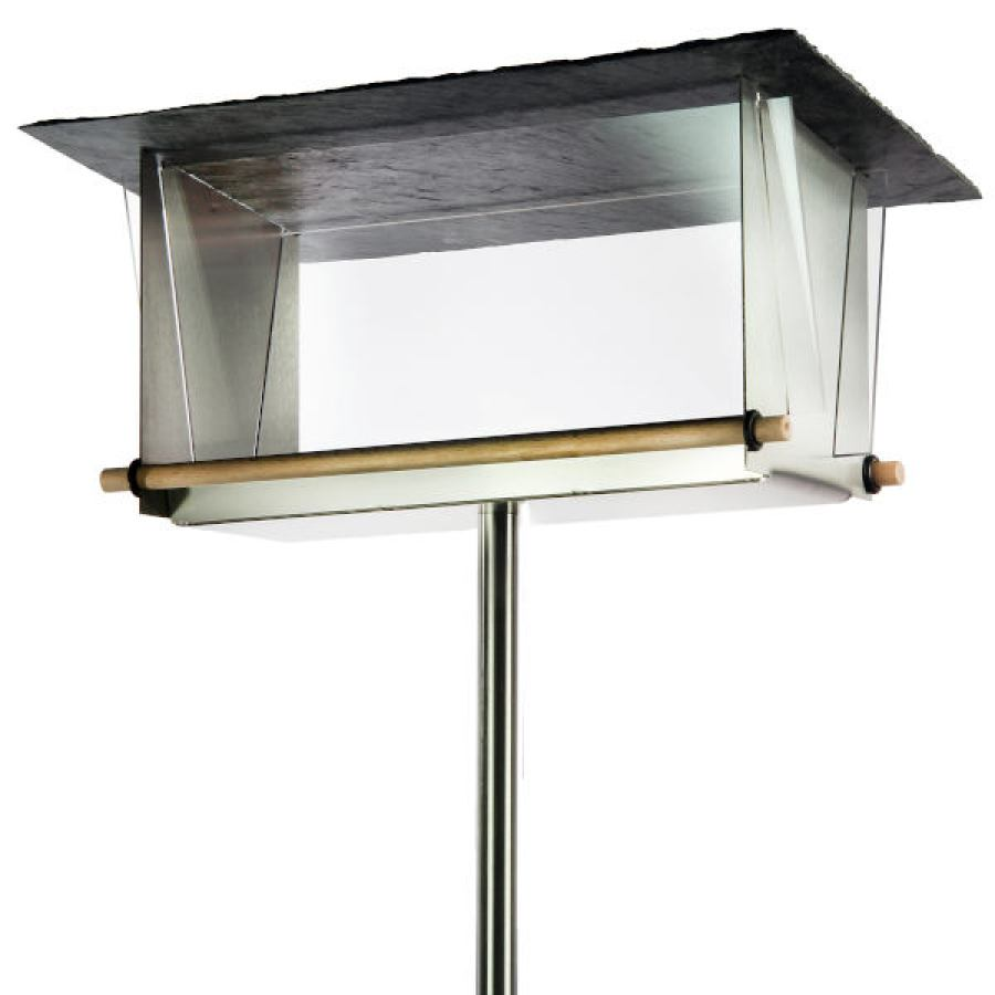 Transparent Birdhouse made of stainless steel, slate, wood & acrylic glass (rectangular)