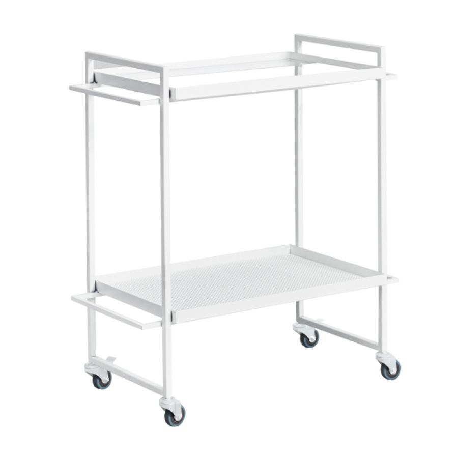 Bauhaus-inspired Table Trolley made of steel (white)