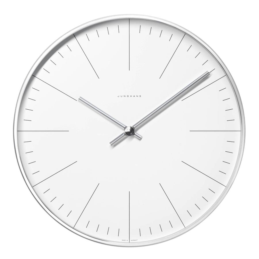 Minimalist Wall Clock by Max Bill with Stroke Dial (two sizes)