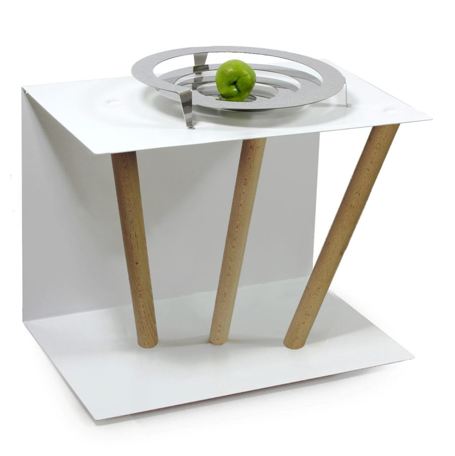 Stainless Steel Sidetable with three oblique legs (40 x 60 cm)