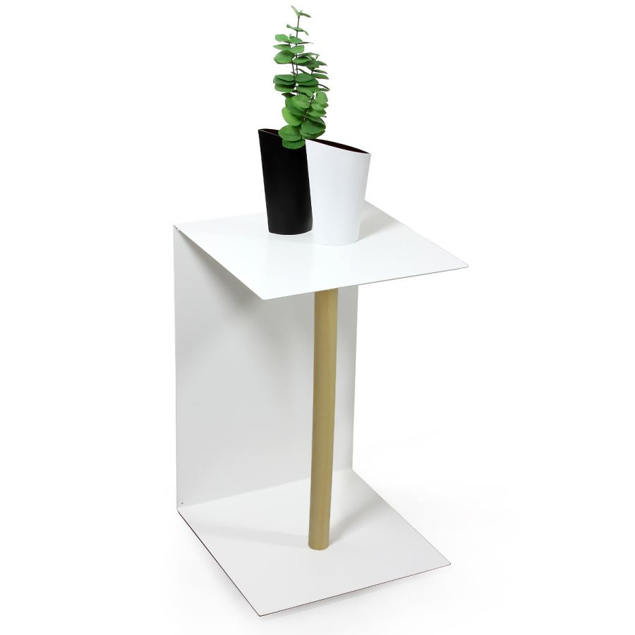 White stainless steel side table wooden leg (40 x 40 cm)