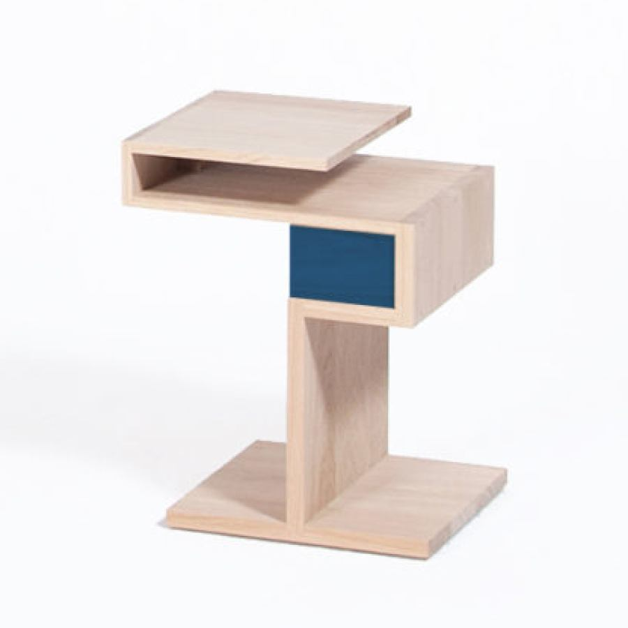 Solid Oak Wood Side Table with Drawer in Bespoke Color (40 x 32 cm)